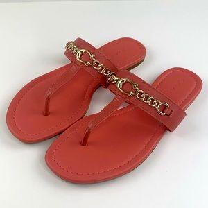 Coach Jaclyn Sandals Flip Flops Coral Leather 7.5B